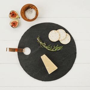 Round Slate Hanging Serving Board with Copper Hook