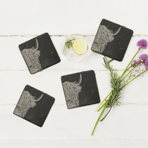 Four Slate Highland Cow Coasters