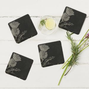Four Slate Thistle Coasters