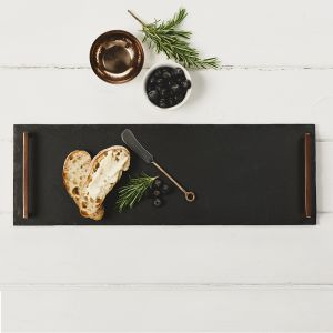 Large Serving Tray (Straight Edge) with Copper Handles