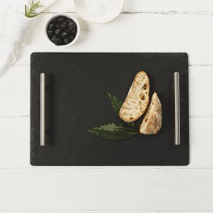 Medium Slate Serving Tray with Plain Handles
