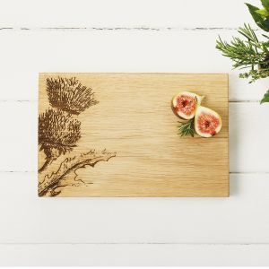 Oak Thistle Serving Board  30cm by Scottish Made
