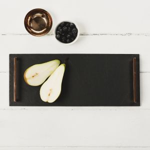 Small Serving Tray (Straight Edge) with Copper Handles