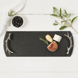 Small Slate Tray with Antler Handles