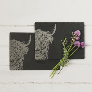 Highland Cow Place Mats - Slate, set of 2