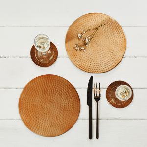 Two Flat Hammered Copper Place Mats