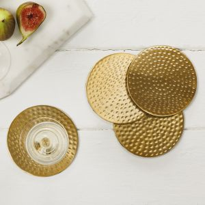 Four Gold Flat Hammered Coasters