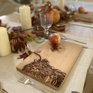 Oak Highland Cow Serving Board 30cm by Scottish Made