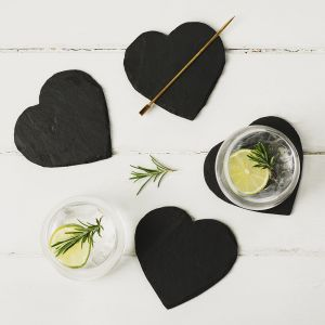 Four Slate Heart Coasters