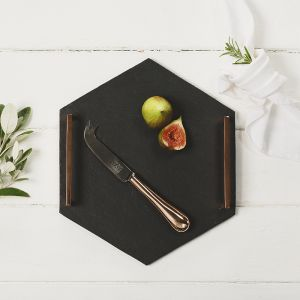 Hexagonal Serving Tray (Straight Edge) with Copper Handles