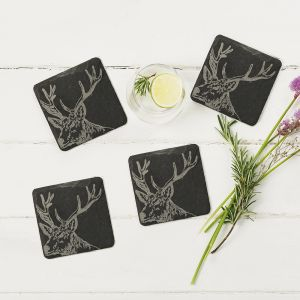 Four Slate Stag Coasters