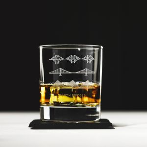 Forth Bridges Engraved Glass Tumbler with Slate Coaster Gift Set