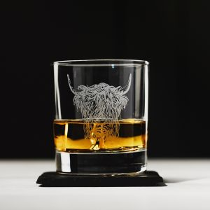Highland Cow Engraved Glass Tumbler With Slate Coaster