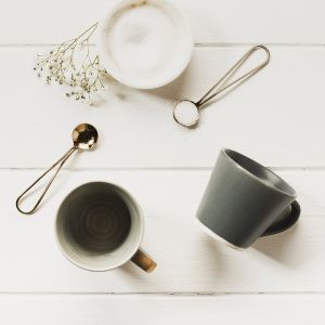 Stoneware Coffee Cup and Gold Spoon Set