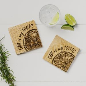 2 Gin is my Tonic Oak Coasters