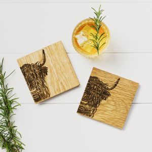 2 Highland Cow Oak Coasters