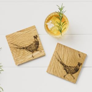2 Pheasant Oak Coasters