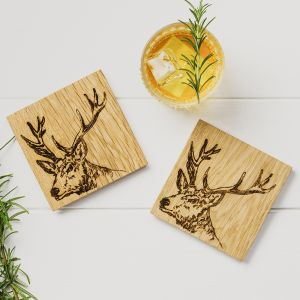 2 Stag Oak Coasters