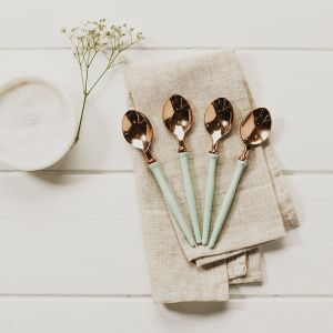4 Enamel and Rose Gold Spoons