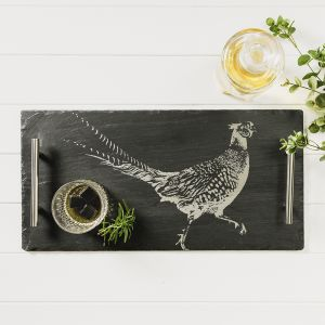 Large Slate Pheasant Tray With Copper Handles
