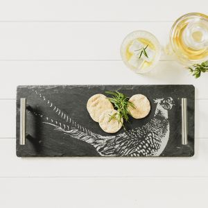 Small Slate Pheasant Serving Tray With Copper Handles