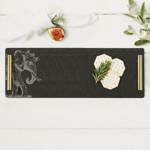 Slate Crowned Elephant Serving Tray With Gold Handles