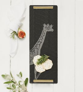 Slate Crowned Giraffe Serving Tray With Gold Handles