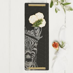 Small Slate Crowned Zebra Serving Tray with Gold Handles