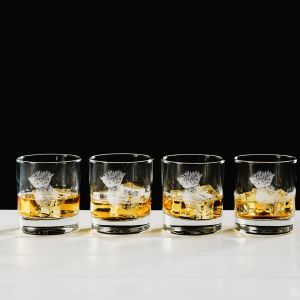 Thistle Engraved Glass Tumbler Gift Set (Set of 4)