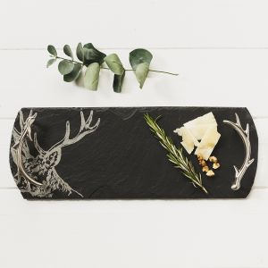 Small Slate Stag Serving Tray