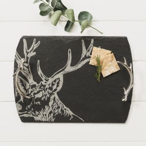 Medium Slate Stag Serving Tray