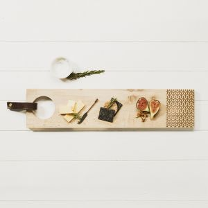 Long Sycamore Geo Print Serving Board with Leather Tab by Scottish Made