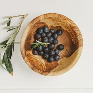 Small Round Olive Wood Serving Bowl - 13cm