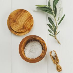 Olive Wood Salt Pot and Salt Scoop Set