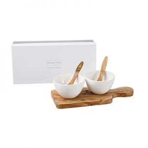 Unique Gift set Gift Boxed Olive Wood Serving Paddle & Bowl Set Set from Naturally Med