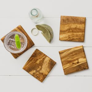 Square Olive Wood Coasters (x4)