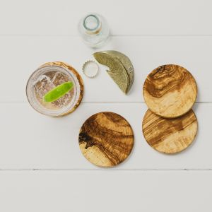 Set of 4 Round Olive Wood Coasters