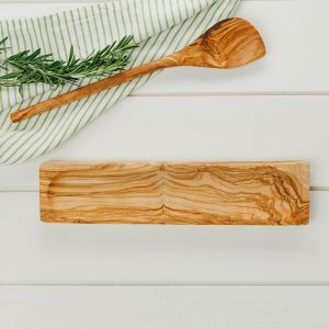 Olive Wood Spoon Rest and Round Spoon Set