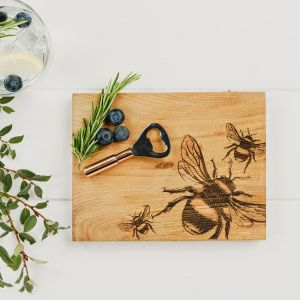 Bee Oak Cutting Board & Bottle Opener Set