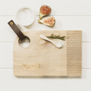 Small Curved Sycamore Geo Print Serving Board with Leather Tab by Scottish Made