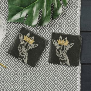 2 Slate Gold Leaf Crowned Giraffe Coasters