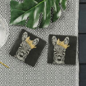 2 Slate Gold Leaf Crowned Zebra Coasters