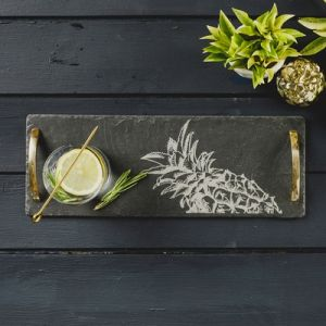 Slate Pineapple Serving Tray With Gold Handles
