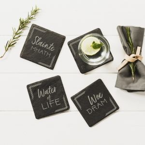 4 Slate Whisky Coasters