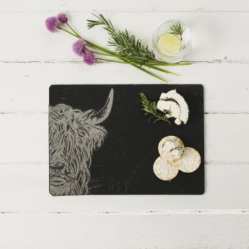 Slate Highland Cow Cheese Board