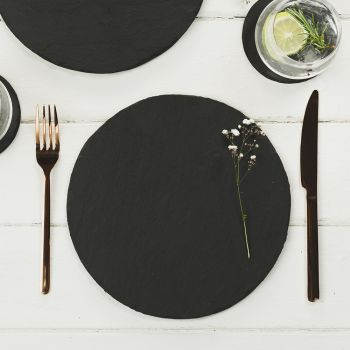 Two Slate Round Place Mats