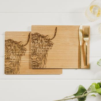 Buy 2 Highland Cow Veneer Place Mats