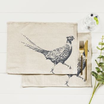 Main image of 2 Pheasant Linen Place Mats