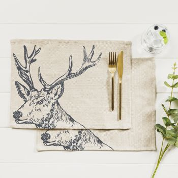 Main image of 2 Stag Linen Place Mats