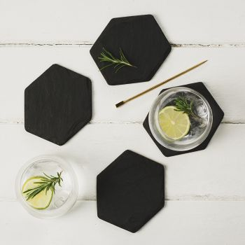 Four Slate Hexagonal Coasters
